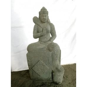 Estatua diosa balinesa de rodillas de piedra natural 100 cm