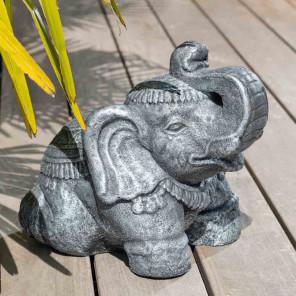 Estatua elefante sentado de piedra 40 cm gris envejecido