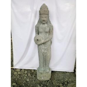 Estatua exterior fuente diosa balinesa Dewi de piedra volcánica 1.50 m