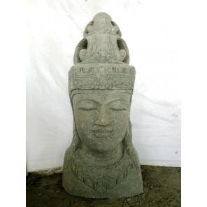 Estatua exterior macetero diosa balinesa de piedra volcánica 70 cm