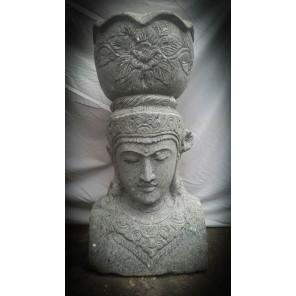 Estatua exterior macetero diosa balinesa de piedra volcánica 80 cm