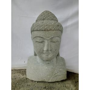 estatua exterior zen busto de Buda de piedra volcánica 70 cm