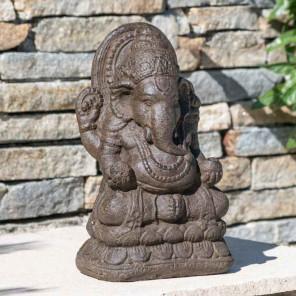 Estatua Ganesh de piedra 40 cm marrón envejecido