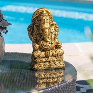 Estatua Ganesh de piedra dorada 40 cm