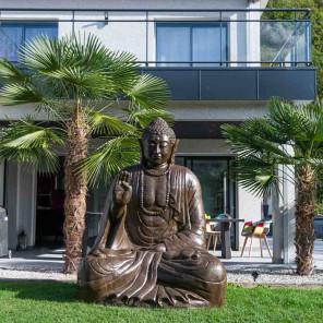Estatua grande 2 m Buda sentado de fibra de vidrio posición ofrenda