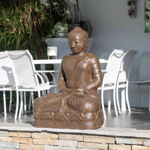 Estatua jardín Buda sentado de fibra posición ofrenda 105 cm marrón