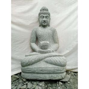 Estatua jardín Buda sentado piedra volcánica bol 1,20 m
