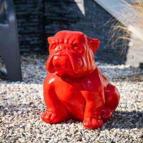 Estatua jardín bulldog roja 40cm