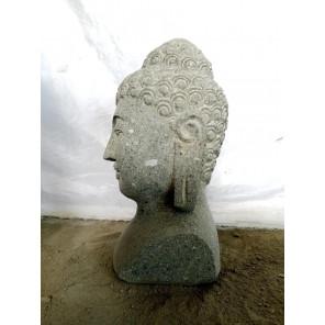 Estatua jardín busto de Buda de piedra volcánica 40 cm