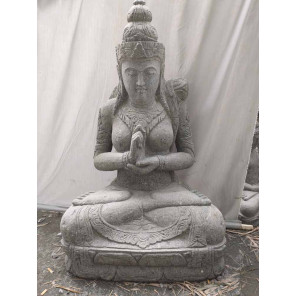 Estatua jardín de piedra diosa balinesa flor zen 1,20 m