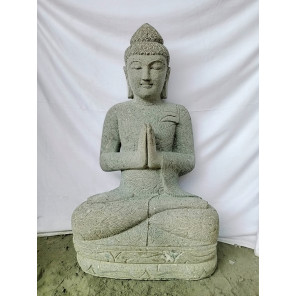 Estatua jardín exterior Buda piedra volcánica posición rezo 1 m