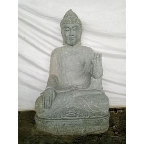 Estatua jardín exterior Buda sentado piedra volcánica meditacion 1,20 m