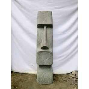 Estatua Moái rostro alargado jardín zen 100 cm