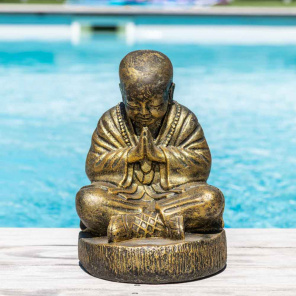 Estatua monje Shaolin de piedra sentado dorado 40 cm