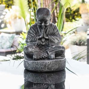 Estatua monje Shaolin sentado gris con pátina 40 cm
