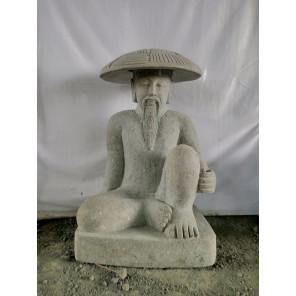 Estatua pescador japonés de piedra volcánica 80 cm