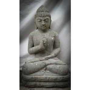 Estatua zen Buda sentado de piedra volcánica posición chakra 60 cm