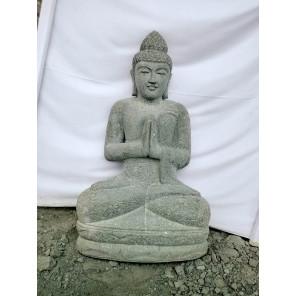 Estatua zen de piedra Buda posición rezo jardín 1 m