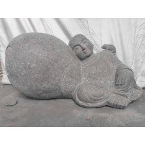 Estatua zen de piedra de jardín monje shaolín 1 m
