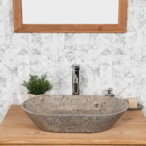 Eve grey countertop bathroom sink 60 cm