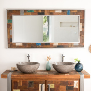 Factory large wood and metal bathroom mirror 140 x 70