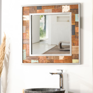 Factory wood and metal bathroom mirror 70 x 70