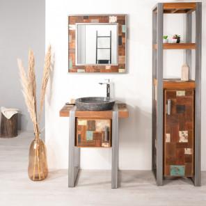 Factory wood and metal bathroom vanity unit 70 cm