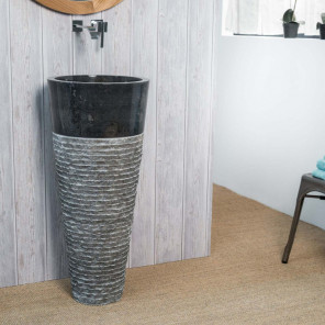 Florence black stone pedestal bathroom sink