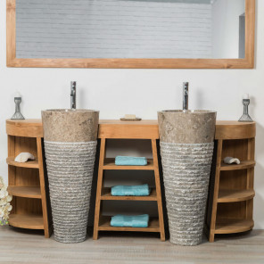Florence grey teak double-sink bathroom vanity unit