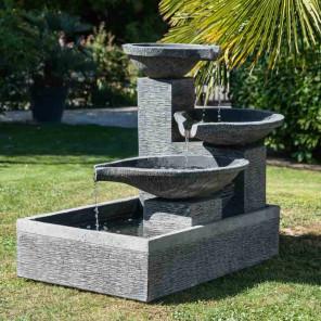 Fontaine de jardin à débordement 1.10m 3 vasques noire grise