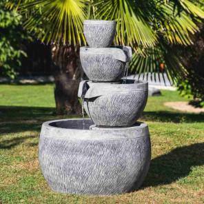 Fuente de jardín estanque redondo 1,10 m 4 copas negro gris