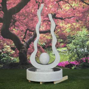 Fuente de jardín llama bola gris 2 m