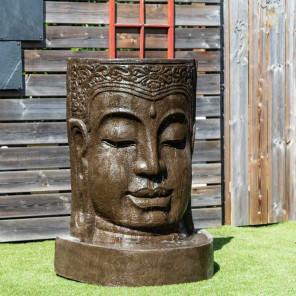 Fuente de jardín pared de agua rostro de Buda 1,20 m marrón envejecido