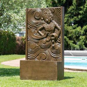 Fuente grande de jardín pared de agua diosa balinesa marrón 1,50 m