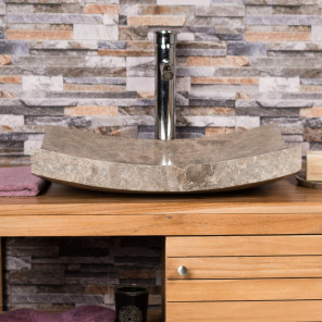 Genoa large rectangular grey polished marble countertop sink 50 cm