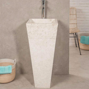 Giza cream stone pyramid bathroom pedestal sink