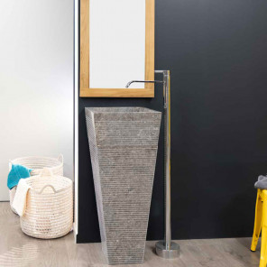 Giza grey stone pyramid bathroom pedestal sink