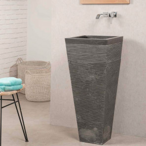 Giza square black stone pedestal bathroom sink