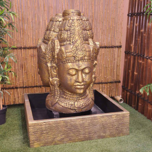 Gold-coloured goddess Dewi face garden water feature 130 cm