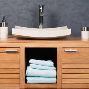 Grande Vasque crème 50cm à poser rectangle en marbre Gênes poli