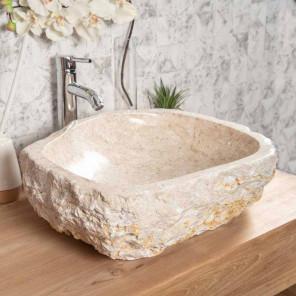 Grande Vasque de salle de bain à poser ROC en marbre crème
