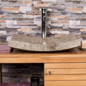 Grande Vasque grise 50cm à poser rectangle en marbre Gênes poli