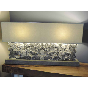 Grey arabesque pattern living room lamp in weathered-finish wood - 1 m x 55 cm