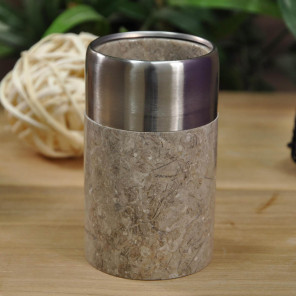 Grey stainless steel and marble toothbrush holder