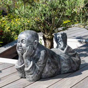 zen reclining monk statue grey weathered finish 60 cm