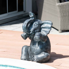 Grey weathered-finish seated elephant statue 80 cm