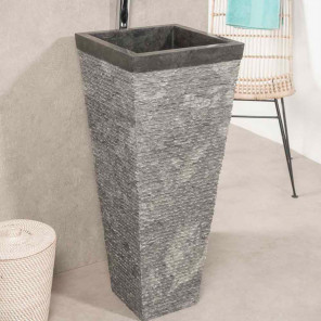 Havana black stone pyramid bathroom pedestal sink