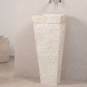 Havana cream stone pyramid bathroom pedestal sink