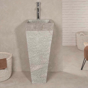 Havana grey stone pyramid bathroom pedestal sink