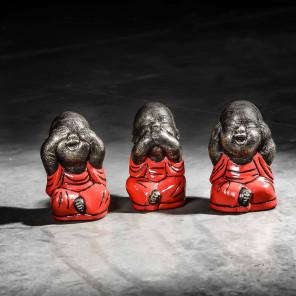 Juego de monjes de la sabiduría modelo pequeño rojo 18 cm